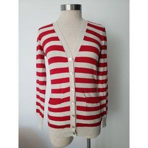 Forever 21 Red Striped Cardigan